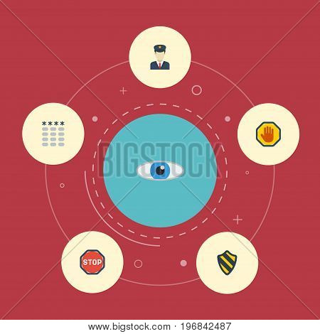 Flat Icons Policeman, Shield, Road Sign And Other Vector Elements