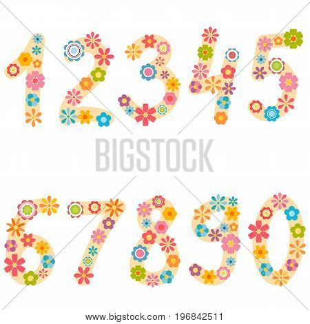 numbers from zero to nine with colorful flowers