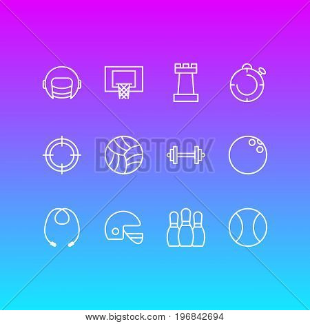 Editable Pack Of Second, Basketball, Sniper And Other Elements.  Vector Illustration Of 12 Fitness Icons.