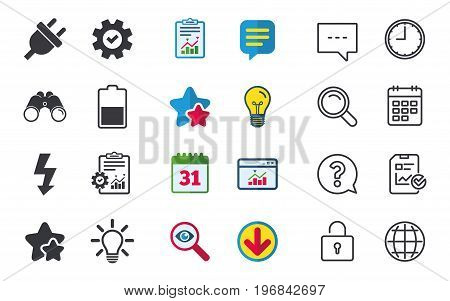 Electric plug icon. Light lamp and battery half symbols. Low electricity and idea signs. Chat, Report and Calendar signs. Stars, Statistics and Download icons. Question, Clock and Globe. Vector