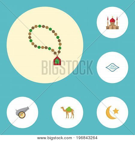 Flat Icons Arabic Calligraphy, New Lunar, Bead And Other Vector Elements