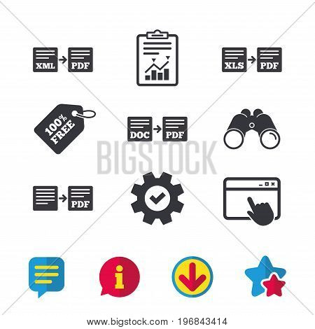 Export file icons. Convert DOC to PDF, XML to PDF symbols. XLS to PDF with arrow sign. Browser window, Report and Service signs. Binoculars, Information and Download icons. Stars and Chat. Vector