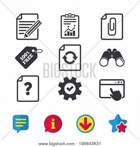 File refresh icons. Question help and pencil edit symbols. Paper clip attach sign. Browser window, Report and Service signs. Binoculars, Information and Download icons. Stars and Chat. Vector