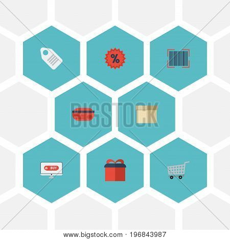 Flat Icons Case, Present, Qr And Other Vector Elements