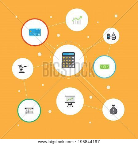 Flat Icons Growing Chart, Bar Diagram, Accounting And Other Vector Elements