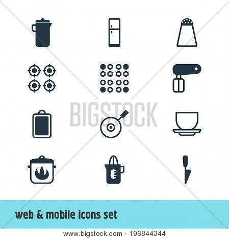 Editable Pack Of Shaker, Refrigerator, Jug And Other Elements.  Vector Illustration Of 12 Cooking Icons.