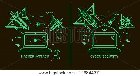Two vector thin line illustrations on the theme of hacker attack hacking cyber security. Fighter planes flying and shooting at the laptop on black background.