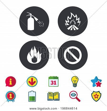 Fire flame icons. Fire extinguisher sign. Prohibition stop symbol. Calendar, Information and Download signs. Stars, Award and Book icons. Light bulb, Shield and Search. Vector