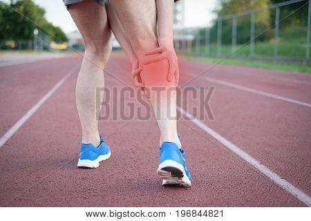 Running Athlete Feeling Pain Because Of Injured Leg