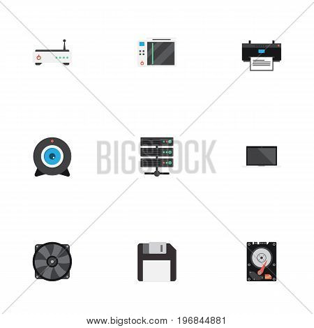 Flat Icons Router, Diskette, Hard Disk And Other Vector Elements