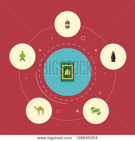 Flat Icons Malay, Islamic Lamp, Dromedary And Other Vector Elements