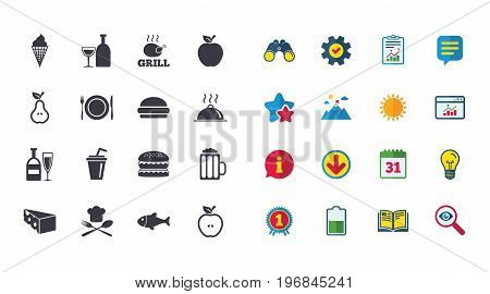 Set of Food and Drinks icons. Restaurant meal, Wine and Cheese signs. Burger, Milkshake and Beer symbols. Calendar, Report and Browser window signs. Stars, Service and Download icons. Vector