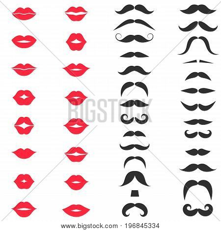 Set of hipster mustache and red lips on white background