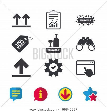 Fragile icons. Delicate package delivery signs. This side up arrows symbol. Browser window, Report and Service signs. Binoculars, Information and Download icons. Stars and Chat. Vector