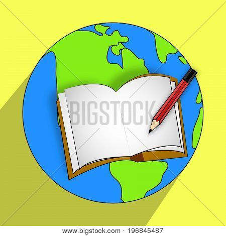illustration of pen and book on earth background on the occasion of Literacy Day