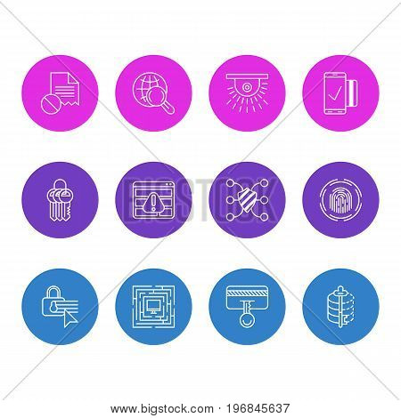 Editable Pack Of Camera, Key Collection, Internet Surfing And Other Elements.  Vector Illustration Of 12 Security Icons.