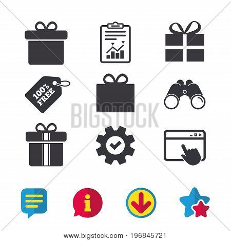 Gift box sign icons. Present with bow and ribbons sign symbols. Browser window, Report and Service signs. Binoculars, Information and Download icons. Stars and Chat. Vector