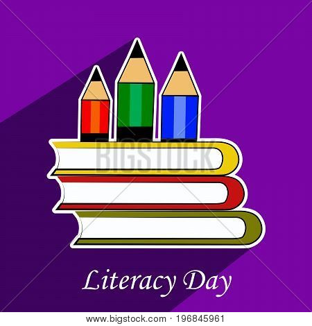 illustration of pencil and book with literacy day text on the occasion of Literacy Day