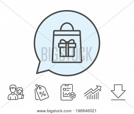 Shopping bag with Gift box line icon. Present or Sale sign. Birthday Shopping symbol. Package in Gift Wrap. Report, Sale Coupons and Chart line signs. Download, Group icons. Editable stroke. Vector
