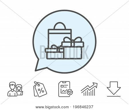 Gift boxes with bag line icon. Present or Sale sign. Birthday Shopping symbol. Package in Gift Wrap. Report, Sale Coupons and Chart line signs. Download, Group icons. Editable stroke. Vector
