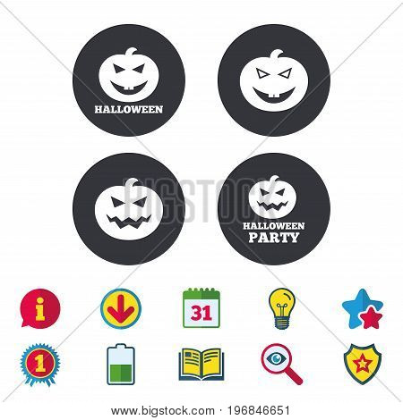 Halloween pumpkin icons. Halloween party sign symbol. All Hallows Day celebration. Calendar, Information and Download signs. Stars, Award and Book icons. Light bulb, Shield and Search. Vector