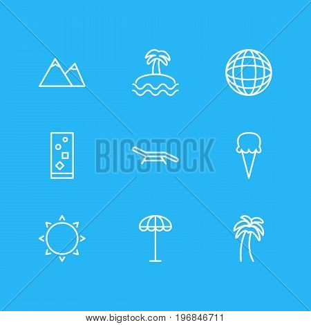Editable Pack Of Palm, Earth, Longue And Other Elements.  Vector Illustration Of 9 Summer Icons.