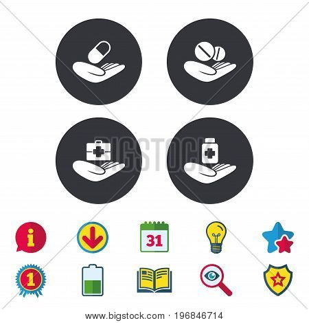 Helping hands icons. Medical health insurance symbols. Drugs pills bottle signs. Medicine tablets. Calendar, Information and Download signs. Stars, Award and Book icons. Light bulb, Shield and Search