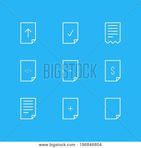Editable Pack Of Munus, Folder, HTML And Other Elements.  Vector Illustration Of 9 Paper Icons.