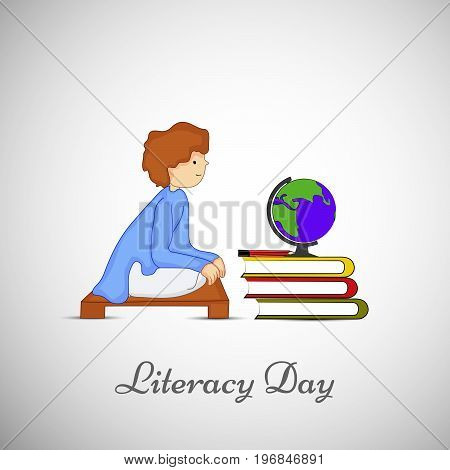 illustration of a student, globe and book with literacy day on the occasion of Literacy Day