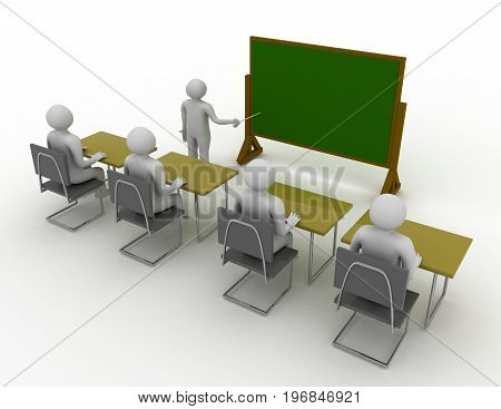 3D Students In School Concept . 3D Rendered Illustration