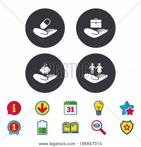 Helping hands icons. Protection and insurance symbols. Financial money savings, health medical insurance. Human couple life sign. Calendar, Information and Download signs. Stars, Award and Book icons