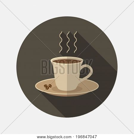 A cup of coffee. Flat illustration . Vector sign for web graphics.