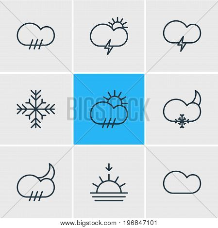 Editable Pack Of Snow, Cloud, Windstorm And Other Elements.  Vector Illustration Of 9 Sky Icons.