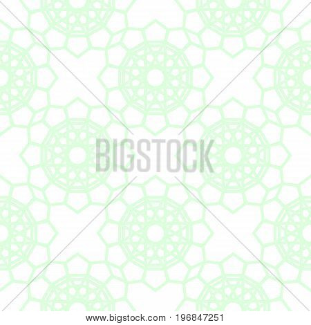 Abstract geometric pattern. Light green and white seamless background. Stylized kaleidoscope pattern. Vector background