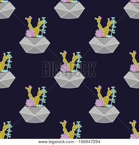 Vector Colorful Hand Drawn Seamless Pattern With Cactuses And Succulents In Geometrical Pots. Modern