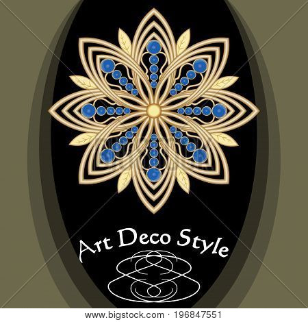 Golden art deco brooch with blue saphire gems victorian jewelry antiquarian accessory vector EPS 10