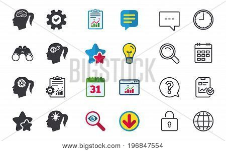 Head with brain and idea lamp bulb icons. Female woman think symbols. Cogwheel gears signs. Chat, Report and Calendar signs. Stars, Statistics and Download icons. Question, Clock and Globe. Vector