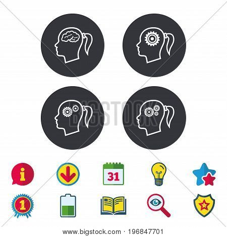 Head with brain icon. Female woman think symbols. Cogwheel gears signs. Calendar, Information and Download signs. Stars, Award and Book icons. Light bulb, Shield and Search. Vector