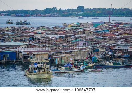 Semporna,Sabah,Malaysia-Apr 22,2017:View of Semporna bajau water village at Semporna,Sabah,Malaysia.The water village is a popular tourist attraction area in Semporna,Sabah,Malaysia
