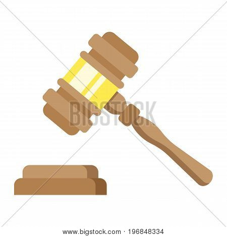 Auction hammer flat icon, business and finance, judge gavel sign vector graphics, a colorful solid pattern on a white background, eps 10.