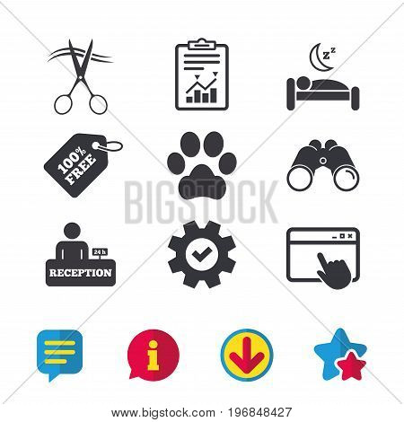 Hotel services icons. With pets allowed in room signs. Hairdresser or barbershop symbol. Reception registration table. Quiet sleep. Browser window, Report and Service signs. Vector