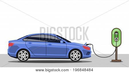 Electric car charging at ev power station. Electric vehicle getting energy. Side view. Flat style. Electromobility concept. Vector illustration.