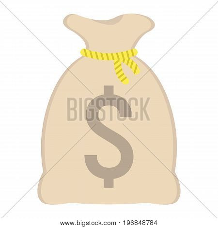 Money bag flat icon, business and finance, dollar sign vector graphics, a colorful solid pattern on a white background, eps 10.
