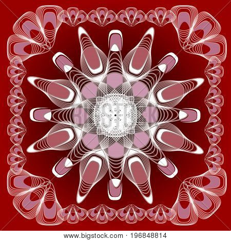Abstract mandala shape in guillloche design white lines on dark red background symmetric abstract shape in frame vector EPS 10