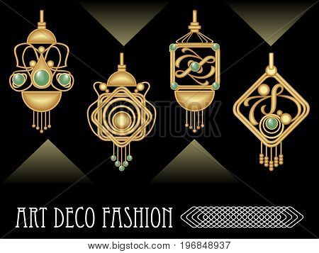 Art deco earrings collection luxury golden jewel in art nouveau style elegant expensive jewelry filigree goldsmith work vector EPS 10