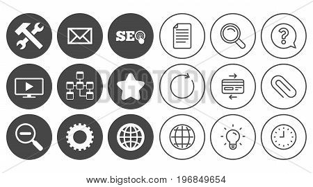 Internet, seo icons. Repair, database and star signs. Mail, settings and monitoring symbols. Document, Globe and Clock line signs. Lamp, Magnifier and Paper clip icons. Vector