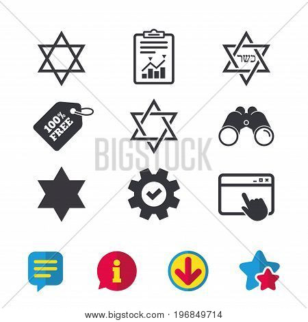 Star of David sign icons. Symbol of Israel. Browser window, Report and Service signs. Binoculars, Information and Download icons. Stars and Chat. Vector