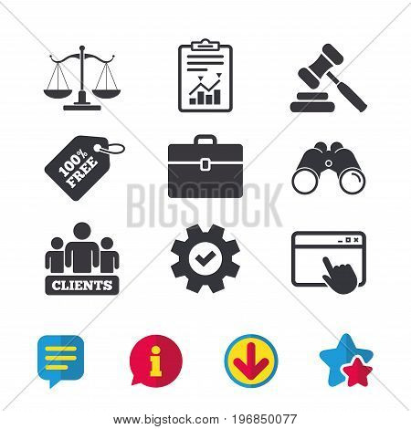 Scales of Justice icon. Group of clients symbol. Auction hammer sign. Law judge gavel. Court of law. Browser window, Report and Service signs. Binoculars, Information and Download icons. Vector