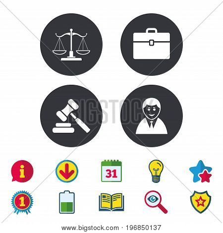 Scales of Justice icon. Client or Lawyer symbol. Auction hammer sign. Law judge gavel. Court of law. Calendar, Information and Download signs. Stars, Award and Book icons. Vector