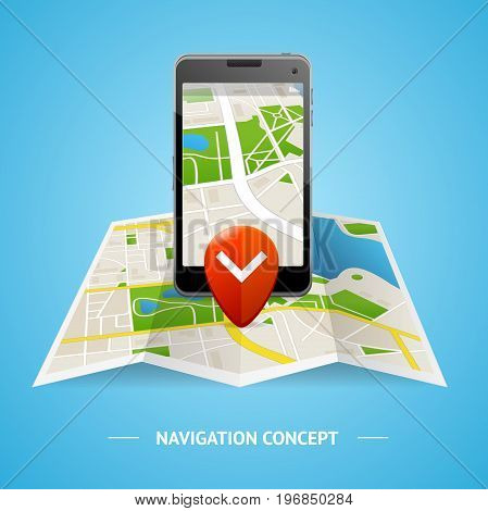 Navigation Service Concept with Map Mobile Phone and Pin Element Information Graphic. Vector illustration